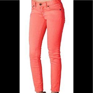 Free People Coral skinny jeans
